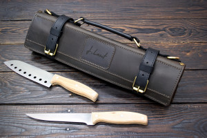 Knife Roll, Leather Chef Knife Roll, Tooll Roll, Personalized Leather Knife Roll, Leather Roll for four knives, Gift for the cook, Chef Bag