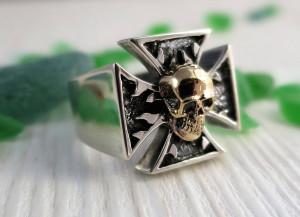 signet ring for men Skull with cross - biker's ring - skull ring