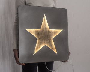 Large LED Star Sign // Wall Art Star Palette Wood and Metal // Industrial, Modern, Chic, Cool Loft Home Decor // Free Shipping Worldwide