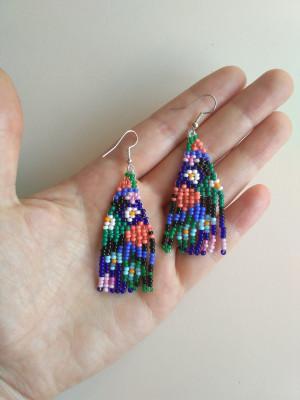 Colorful Floral Fringe Earrings Small Flower earrings wearable art Bead Fringe earrings Summer earrings Bohemian Wedding earrings