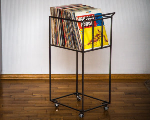LP storage cart // Album crate // Record box cart on rotating wheels // container holds over 80 LP records // free shipping