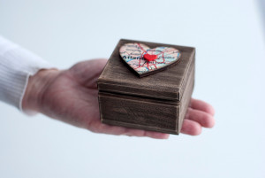 Personalized wedding ring box with custom map heart Gift for wedding fifth anniversary Wooden rustic engagement box for ring