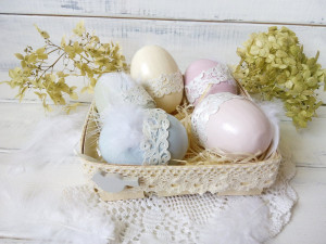 Easter basket with wooden easter eggs Easter gift Table décor Easter décor Wooden egg Hand Painted egg hunt Kids easter bucket