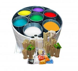 Set Equipment 7 buckets + stand, Water bath, business equipment wax handles