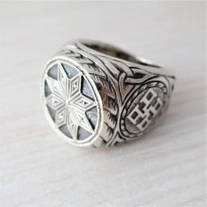 Signet ring Alatyr - ring for men - mens ring - slavic guard