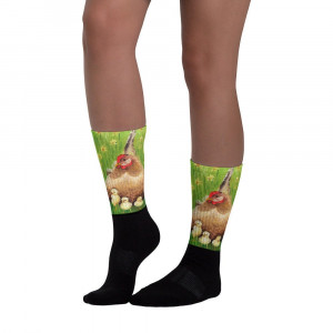 Socks chicken. These socks are extra comfortable thanks to their cushioned bottom. The artwork printed along the leg.