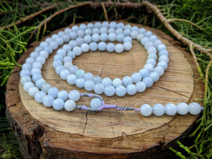 Natural Blue Aquamarine Beryl Stone Mala Prayer Rosary 108 Beads Necklace Yoga Mantra Meditation