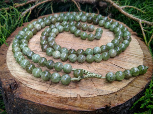 Natural Green Apatite Prayer Mala Rosary Necklace 108 Beads Mantra Yoga Meditation Japa Buddhist