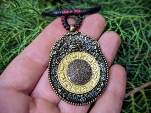 Bagua Amulet Melong Tibetan Mirror Defense Negative Provocation Reflection Dzogchen Bon Buddhist Pendant Tibet Necklace Shaman Mirror