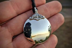 Silver 925 Melong Tibetan Mirror Defense Negative Reflection Dzogchen Buddhist Amulet Pendant Tibet Shaman Necklace