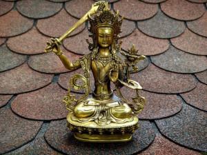 Manjushri Bronze Tibet Buddhist Statue With a Flaming Wisdom Sword