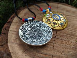 Bagua Amulet Melong Tibet Mirror Defense Buddhist Amulet Pendant Necklace Dzogchen Made in Nepal