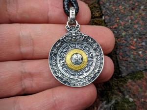 Melong Bagua Amulet 925 Silver Rotation Tibetan Mirror Defense Buddhist Amulet Pendant Tibet Necklace Shaman Vajra