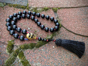 Natural Black Agate Onyx Mala Prayer Rosary 33 Beads Skull High Details Moving Jaw Tasbih Subha Misbaha