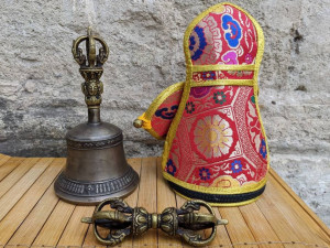 Real Temple Tibetan Ritual Ceremony Buddhist Altar Bell and Vajra Dorje Beautiful Sound and Case