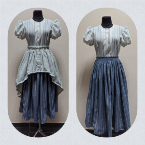 Sewsan linen striped cottagecore peasant matching SET with detacheble upper skirt, blue midi twirl skirt and white puff sleeves blouse