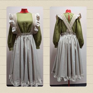 Sewsan olive green and beige linen Set, full sircle dancing twirl midi skirt with ruffles, linen lace on straps, blouse with puff sleeves.