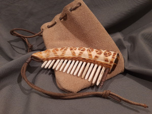 Viking bone comb Hand carved deer antler hair comb tiger's eye stone Witch Larp SCA Celtic Renaissance Medieval costume TheYurich