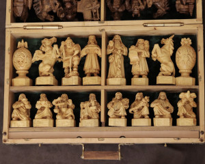 GOOD AND EVIL Handmade wooden chess, Unique author's work of art, Great hand carving, Handmade masterpiece chess, Gift for a chess player
