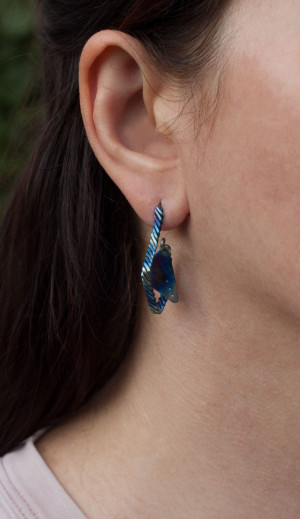 Titanium stud dandle earrings, Statement triangle earrings, Geometric earrings studs, Boho earrings