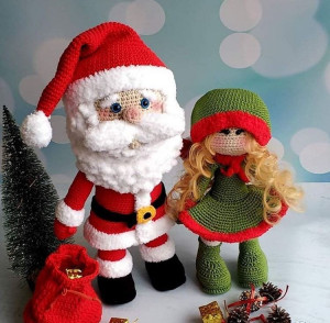 Dolls Santa Claus and Elf - Christmas tree decor -  Christmas toys