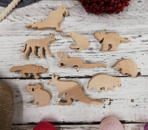 Australian animals\ Animals Play Set\ Australian Wooden Play\ Wooden Toy Set\ Organic Wood Toys\ Natural Toys\ Cute Animals Set