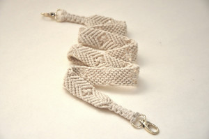 Macrame off white purse strap Woven natural cotton cord bag strap