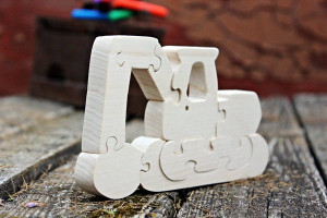 Wooden transport, Wooden Excavator, Car puzzle, Wooden puzzle, Waldorf puzzle, Wood toys, Montessori building blocks, Christmas kids gift