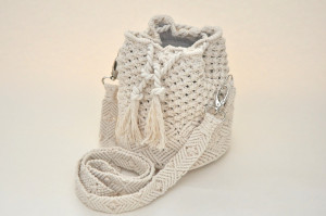 Macrame off white cotton rope bag, Drawstring bucket purse, Woven white ivory cylinder wicker bag, Weekender boho bag