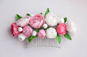 Pink  peony blush hair comb