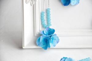 Blue hydrangea necklace,  hydrangea jewelry