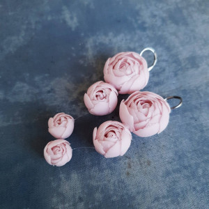 Floral drop earrings, pink floral earrings, romantic earrings