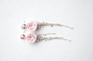 Pale pink wedding earrings