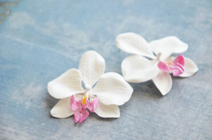 Tropical wedding earrings, white orchid earrings