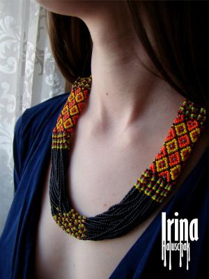 Folk Ukrainian necklace in hutsul colors Ukrainian lewelry to vyshyvanka Seed bead necklace Multistrand beaded necklace Czech glass necklace
