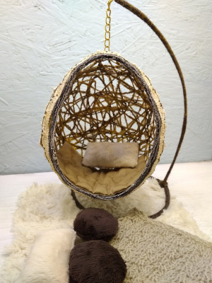 Armchair for bjd 15cm dolls made of yarn cocoon ball for dolls doll house furniture