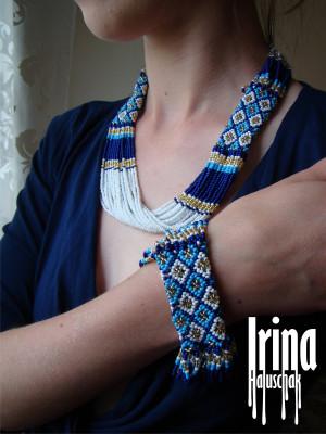 Jewelry set Necklace and bracelet Tribal necklace Beaded necklace Seed bead bracelet Boho jewelry Necklace to vyshyvanka White necklace