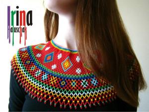 Ukrainian traditional seed bead necklace Beaded collar Krywulka Lemko jewelry Beaded collar Ukraine jewelry Czech beads vyshyvanka necklace