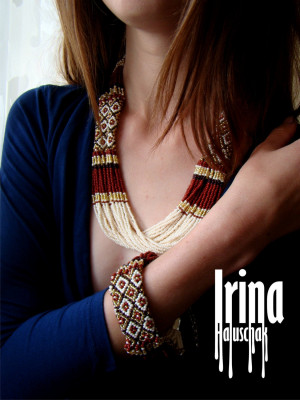 Jewelry Set Beaded necklace Seed bead bracelet Gold and brown Ukraine jewelry Vyshyvanka necklace Folk bead bracelet Statement Beadwork