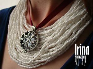 Ukrainian necklace Ukrainian jewelry Tribal necklace with round pendant Necklace to vyshyvanka Boho necklace Boho jewelry Tribal jewelry