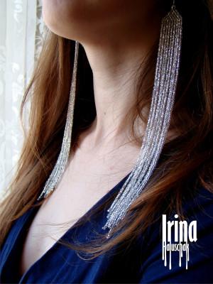 Silver earrings Extra long earrings Fringe Earrings Shoulder duster Seed bead earrings Long women earrings Long evening earrings bohemian
