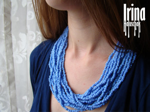 Blue beaded necklace Multistrand seed bead necklace Statement necklace Boho jewelry Bohemian necklace Glass beads necklace Women jewelry