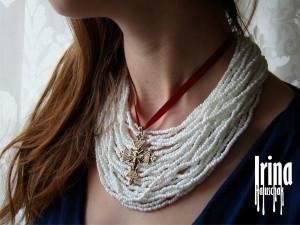 Ukrainian necklace Ukrainian jewelry Tribal necklace with cross pendant Necklace to vyshyvanka Boho necklace Boho jewelry Tribal jewelry