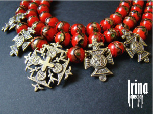 Red Venetian beads necklace Cake beads Vintage style necklace Zgarda cross necklace Hutsul cross necklace Icon cross Ukrainian jewelry