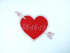 Custom Date Heart Patch With Arrow Love  - Iron On Patch for Jackets - wedding patch