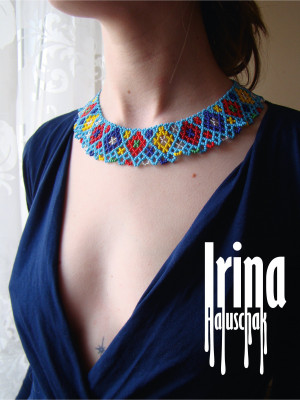 Blue beaded necklace Ukraine seed bead necklace Traditional vyshyvanka necklace Bead collar Tribal necklace Ethnic necklace Reconstruction