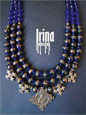 Blue Venetian beads necklace Cake beads Vintage style necklace Zgarda cross necklace Hutsul cross necklace Icon cross Ukrainian jewelry