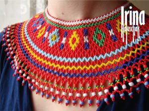 Ukraine jewelry Lemko Beaded necklace krywulka Seed bead collar Bead kryza Vyshyvanka necklace Boho jewelry Kryvulka Ukrainian necklace