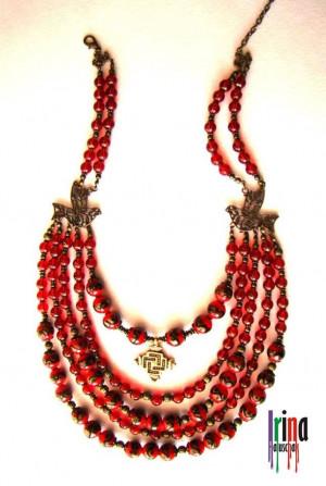 Venetian beads multi strand necklace. Ukrainian traditional necklace with birds. Намисто з гуцульським хрестом