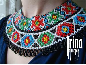 Beaded necklace Ukrainian jewelry Ukraine seed bead necklace Ethnic czech beads necklace Vyshyvanka necklace Boho jewley Tribal necklace